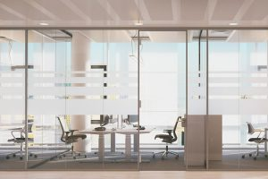 Interior-office-heavy glass-partitions-decorative-herculite-knox-glass-company